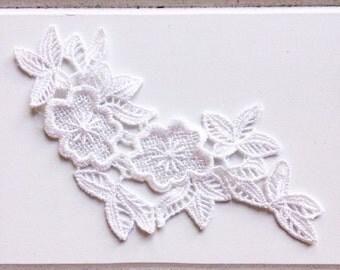 White Crochet Flower Applique Patch DIY Craft