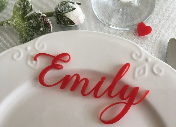 Laser cut names Shabby chic Wedding table place Guest signs Wedding reception Personalized acrylic name place cards Red table names seating