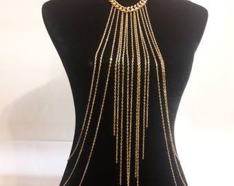 Body Jewelry, body chain, chain harness, beach shain