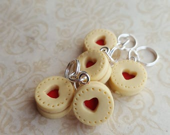 Knitting stitch markers, novelty cookie stitchmarker, biscuit themed knitting  accessory, stitch markers for knitting