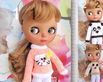 hand-knitted sweater doll Blythe free shipping