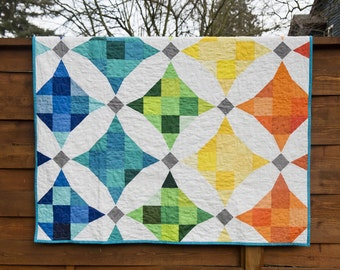 Modern Cathedral Window Quilt/Terrazzo Quilt