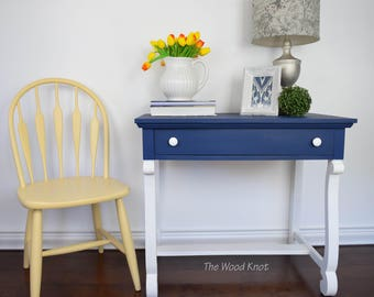 Empire Blue and White Entry Table/Desk. Annie Sloan chalk paint Napoleonic blue and white.