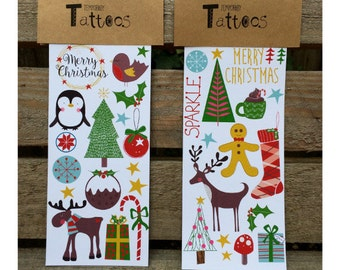 Christmas Temporary Tattoos, Christmas Eve Box Fillers, Stocking Fillers, Christmas Gifts,Kids Christmas Gifts, Christmas Body Art