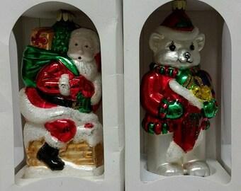 Pair 1997 Santa Clause White Teddy Bear Blown European Style GLASS CHRISTMAS ORNAMENT