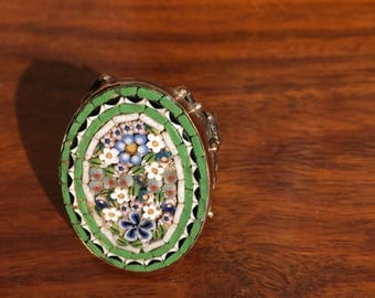 Vintage Italian Micro Mosaic Floral Ring