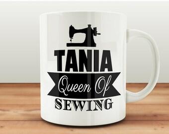 Queen of Sewing Mug, Personalised Mugs UK, Sewing Mugs, Custom Mugs, Sewing Gifts, Sewing Room Gifts, Sewing Room Mugs, Gifts For Sewers