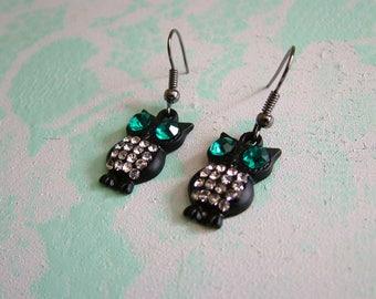 Black Crystal Owl Dangling Earrings