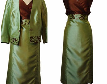 Brown and Green Silk Dress Complimented with Jacket in same fabric