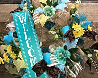 Spring Wreath, Summer Wreath, Welcome Wreath, Front Door Wreath, Everyday Wreath, Door Wreath, Housewarming Gift, Decorative Wreath, Spring