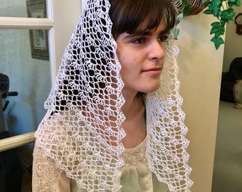 Paige Motif Crocheted Catholic Chapel Veil in White