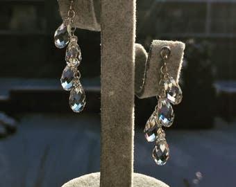 Sterling Silver Teardrop Cluster Earrings Silver Jewelry Briolette Earrings Swarovski Bridesmaid Gift Dangle Classy Earrings Clusters