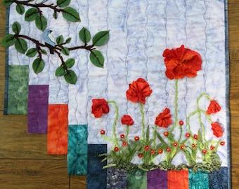 "Red Poppy Art Quilt, Fiber Art Wall Hanging, Poppies and Bird Quilt, Home Decor, Wall Art, Gift for Her, 22"" x 24"""