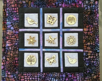 """Wood Button Collage, Fabric Art Quilt, Quilted Wall Hanging, Wall Art, Home Decor, Gift Idea, 11"""" x 11"""""""