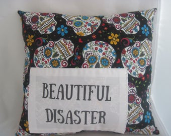 sugar skull pillow, sugar skull decor, rockabilly decor, dorm room decor, pillows for teens, pillows with words, quote pillow