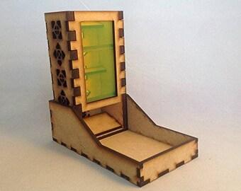Mini Dice Tower and Tray v1 Neon Green Acrylic Window Laser Cut MDF Unique