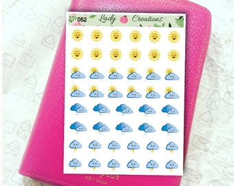 052 | Sunny, Raining, windy and stormy Weather - Planner Stickers