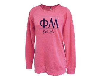 Phi Mu Classic Script Sweatshirt Sorority Gift Choose Your Colors!
