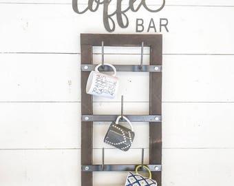 Mug Rack - Cup Rack - Drying Rack - Metal Mug Rack - Wood Mug Rack - Coffee Mug - Rustic Home Decor - Farmhouse Decor - Simply Inspired Shop
