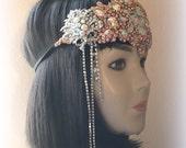 Rhinestone headpiece1/920s headpiece/Gatsby headpiece/Blush headpiece/Bridal headpiece/1920s party headpiece/The Pink Lady