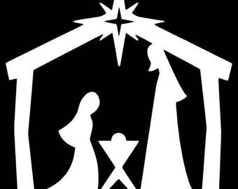 "368# Christmas Nativity Decoration Ornaments Silhouette Die cut Decal 3"" -12"" Decoration Window Choose Color Mirror Houseware Home"