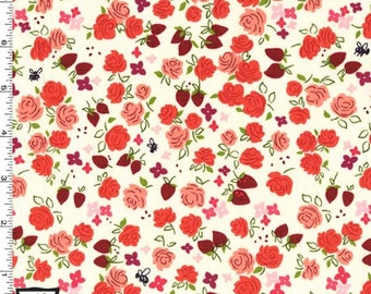 Michael Miller Strawberry Moon Roseberry Fabric - Strawberry - Priced by the 1/2 Yard