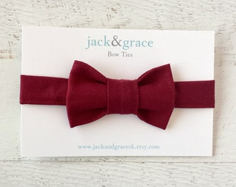 Baby Bow Tie-Maroon Bow Tie- Modern Bow Tie