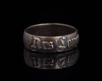 Ars Longa Vita Brevis latin phrase ring, brass, size US 7.75 / 18mm, handmade