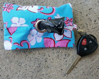 Blue and Pink Hawaiian Floral Doggie Waste Bag Dispenser Keychain