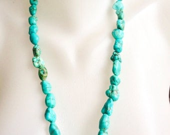 Turquoise Necklace,   Turquoise nuggets necklace,  Tibetan Necklace,, Blue necklace