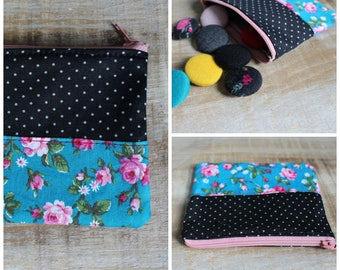 Coin purse, wallet, pocket, zip closure, coin pouch, case, coin holder, eco-responsible, recycled fabrics