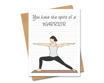 Yoga Greeting Card - Warrior - Pose - Any Occasion