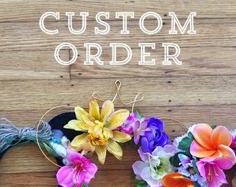 Custom Floral Mouse Ears | Custom Mouse Ears | Wire Ears