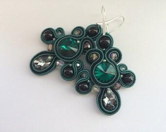 Green handmade Soutache earrings