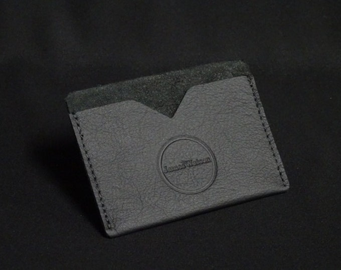 Pocket Wallet - Matte Black - Kangaroo leather with RFID credit card blocking - Handmade - James Watson