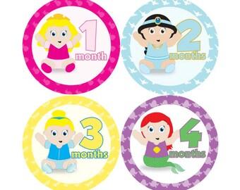 Baby Monthly Stickers - Disney Princess Babies - FREE SHIPPING - Hard Copy Ariel Aurora Cinderella Jasmine Snow White Belle Mermaid Beauty