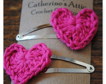 Pink heart hair clips