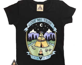 LOVE MY TRIBE Baby or Toddler shirt / teepee mountains lumberjack camping baby shirt  / Love my tribe shirt / tribe shirt
