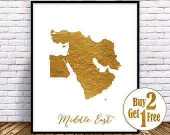 Middle East Map, Middle East Print, Middle East Art, Map Wall Art Print, Office Prints, Housewarming Gift, Gold Decor, GoldArtPrint