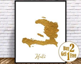 Haiti Map Art Print Haiti Art Print Haiti Decor Haiti Print Map Artwork Map Print Map Poster Gold Decor GoldArtPrint