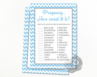 Blue How Sweet it is Baby shower games, Blue Baby shower, printable games baby shower, baby shower games boy BS02