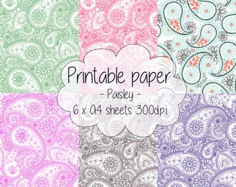 Printable paper: Paisley set