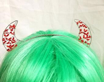 Beaded Devil Horns Headband