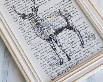 Framed art print, Deer poster, Deer print, Dictionary print, Book print, Hipster room decor,  Nature art, Housewarming gift, Hostess gift