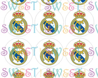 Edible Real Madrid Cupcake, Cookie or Oreo Toppers - Wafer Paper or Frosting Sheet.