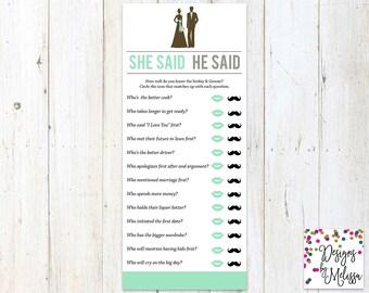 He Said She Said Bridal Shower Game - Bridal Shower Games - Bride or Groom Game Card - Mint Bridal Shower - Mint Shower Games - DIGITAL FILE