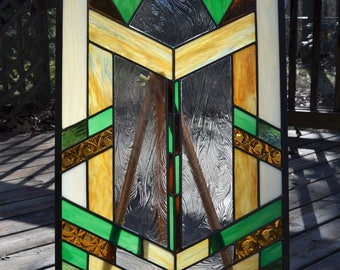 Leaded stained glass panel prairie design