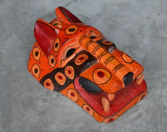Autumn Colors Jaguar Rustic Mask Hand-Carved Hand-Painted from Guatemala