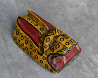 Animal Mask - Jaguar Mask - Hand Painted Mayan Mask - Guatemalan Mask - Wall Hanging