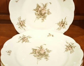 Johann Haviland Bavaria Germany Sepia Rose Dinner Plates